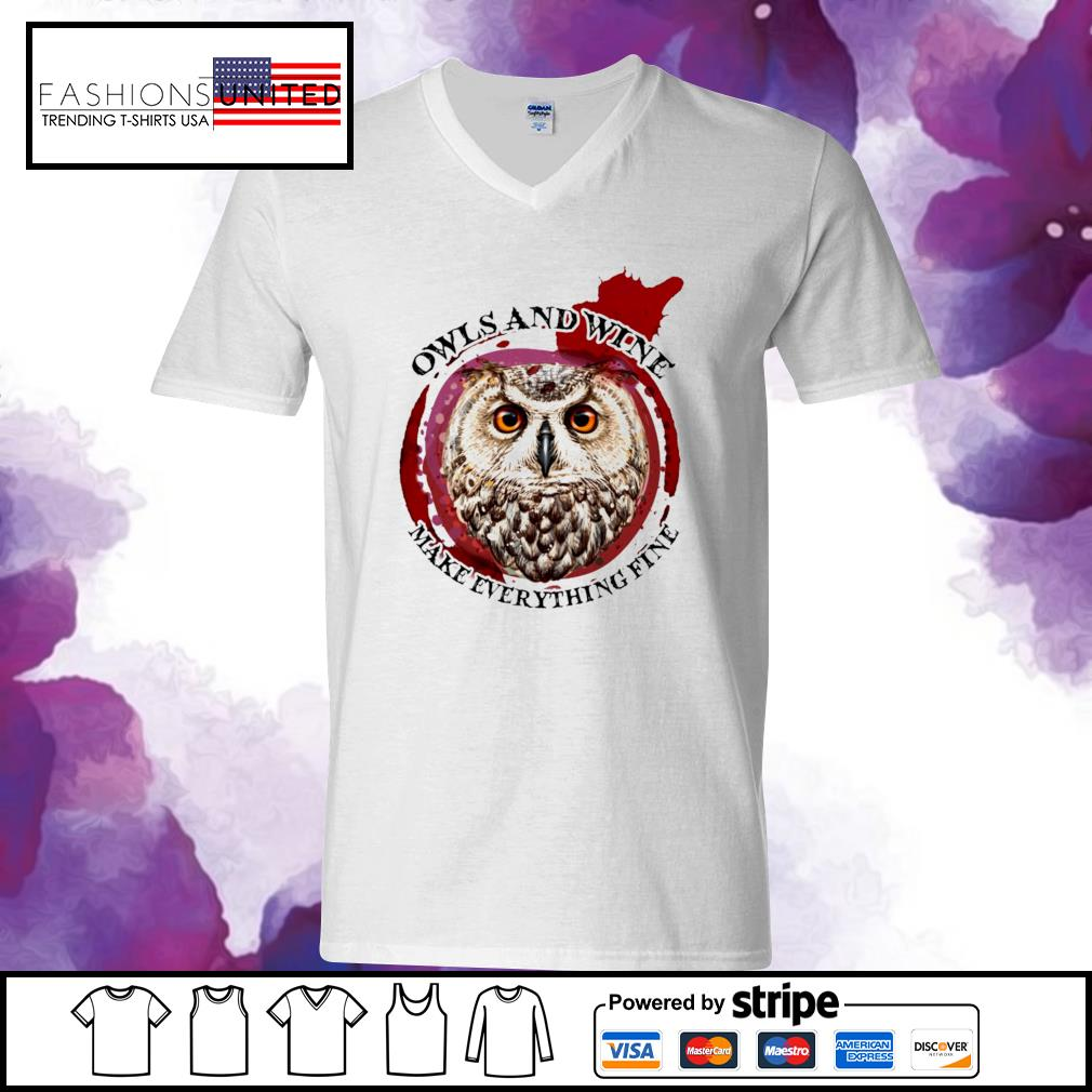 Owls and wine make everything fine s v-neck-t-shirt