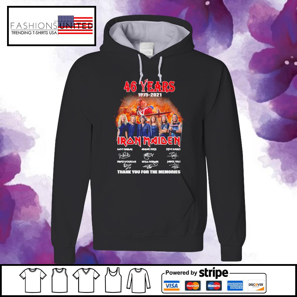 46 years 1975 2021 Iron Maiden thank you for the memories signature hoodie
