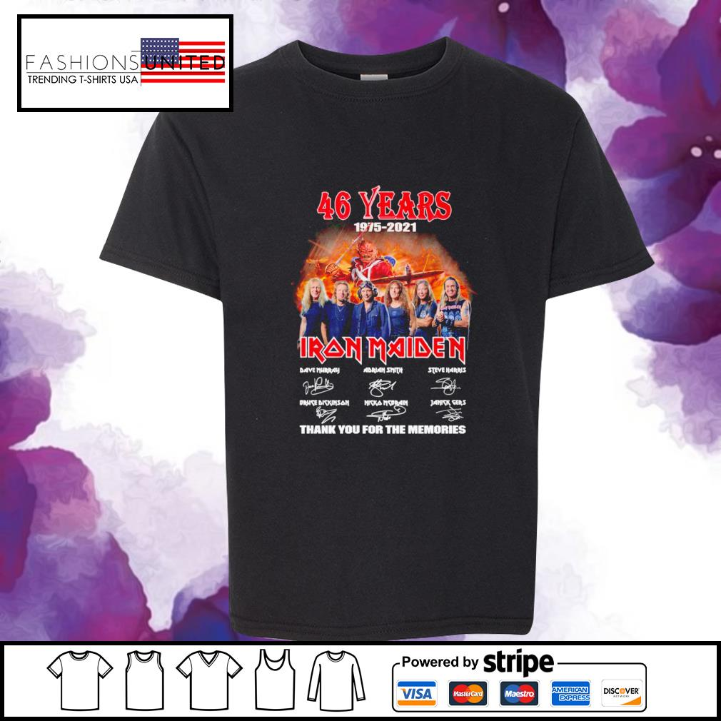 46 years 1975 2021 Iron Maiden thank you for the memories signature youth-tee