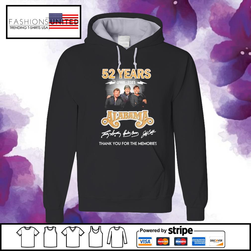52 years 1969 2021 Alabama thank you for the memories signature hoodie