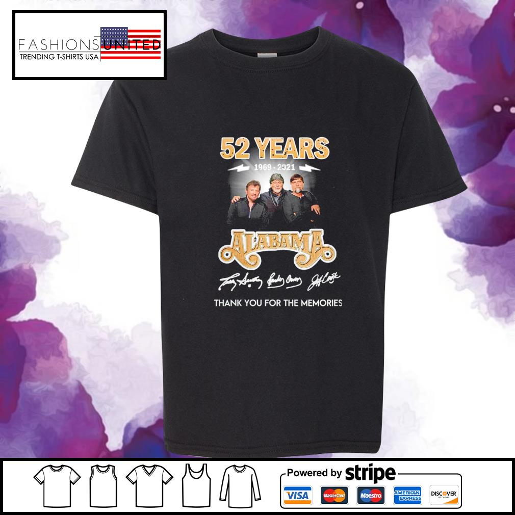 52 years 1969 2021 Alabama thank you for the memories signature youth-tee