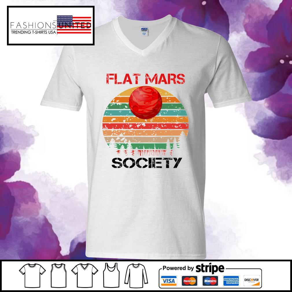 Flat mars society vintage v-neck-t-shirt