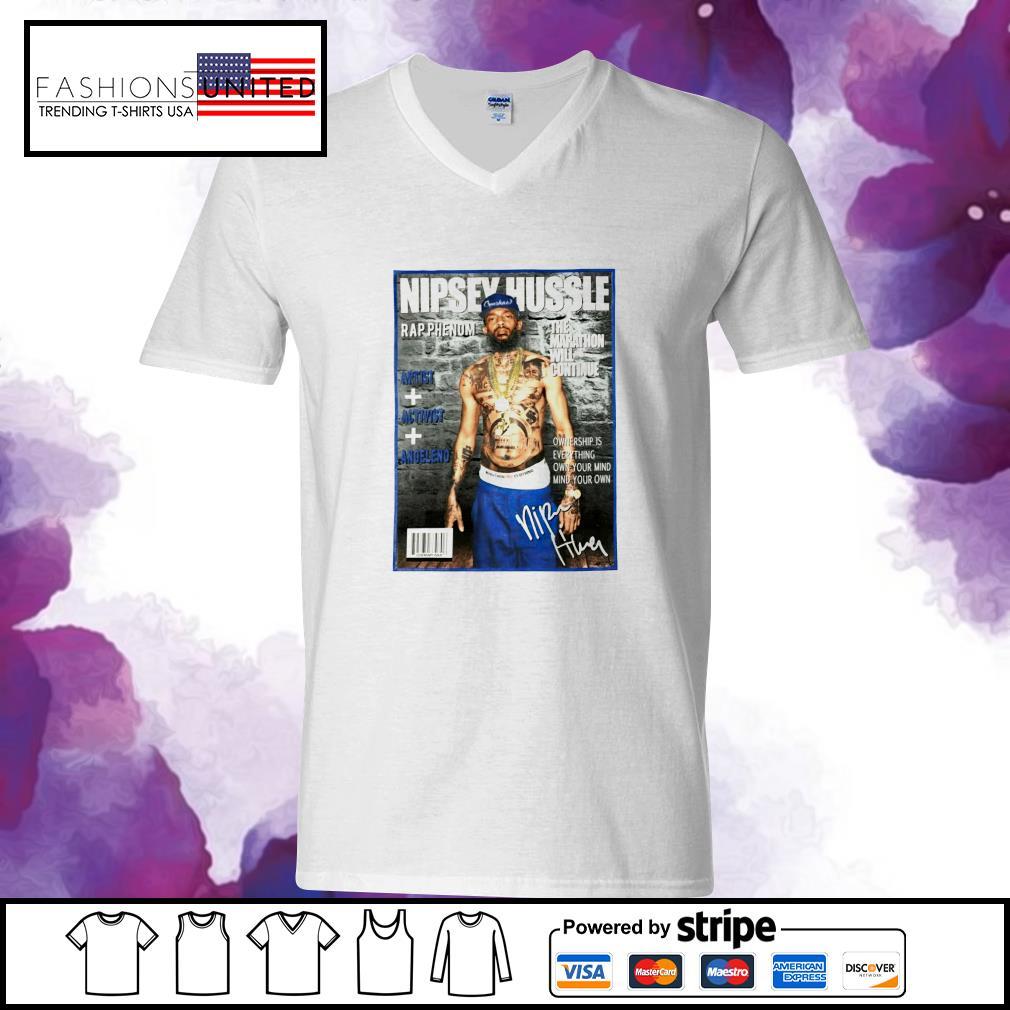 Nipsey Hussle rap phenom the marathon will continue signature s v-neck-t-shirt