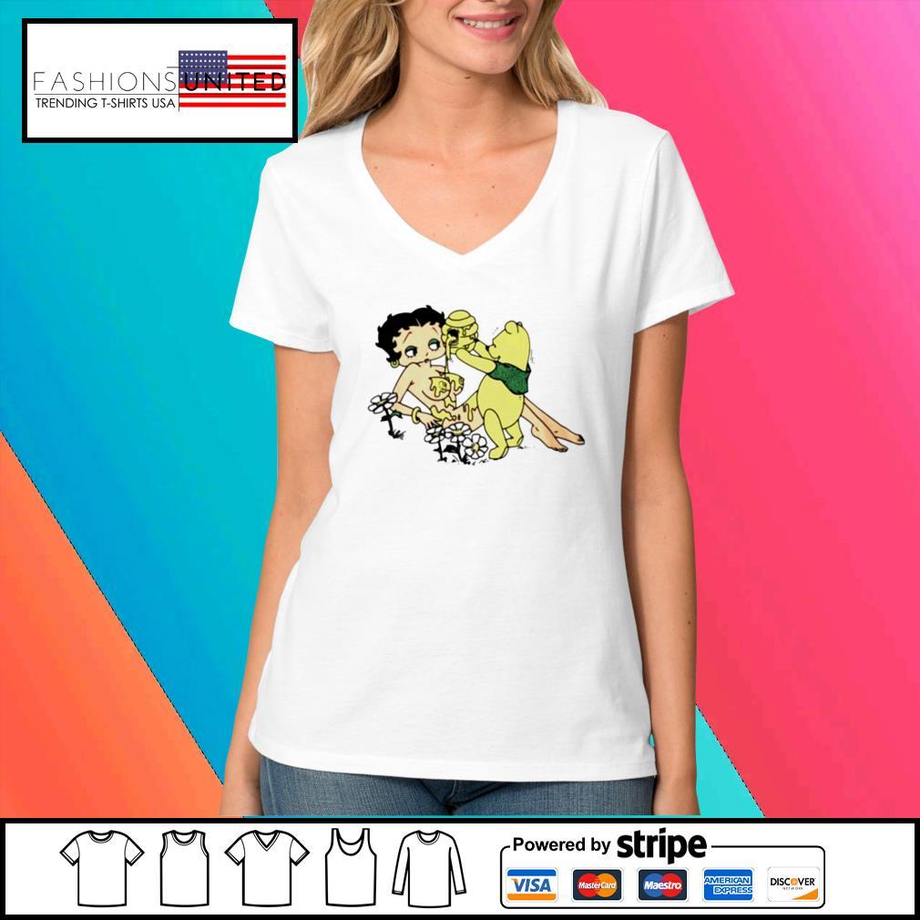 Honey betty boop and pooh bear s V-neck-t-shirt