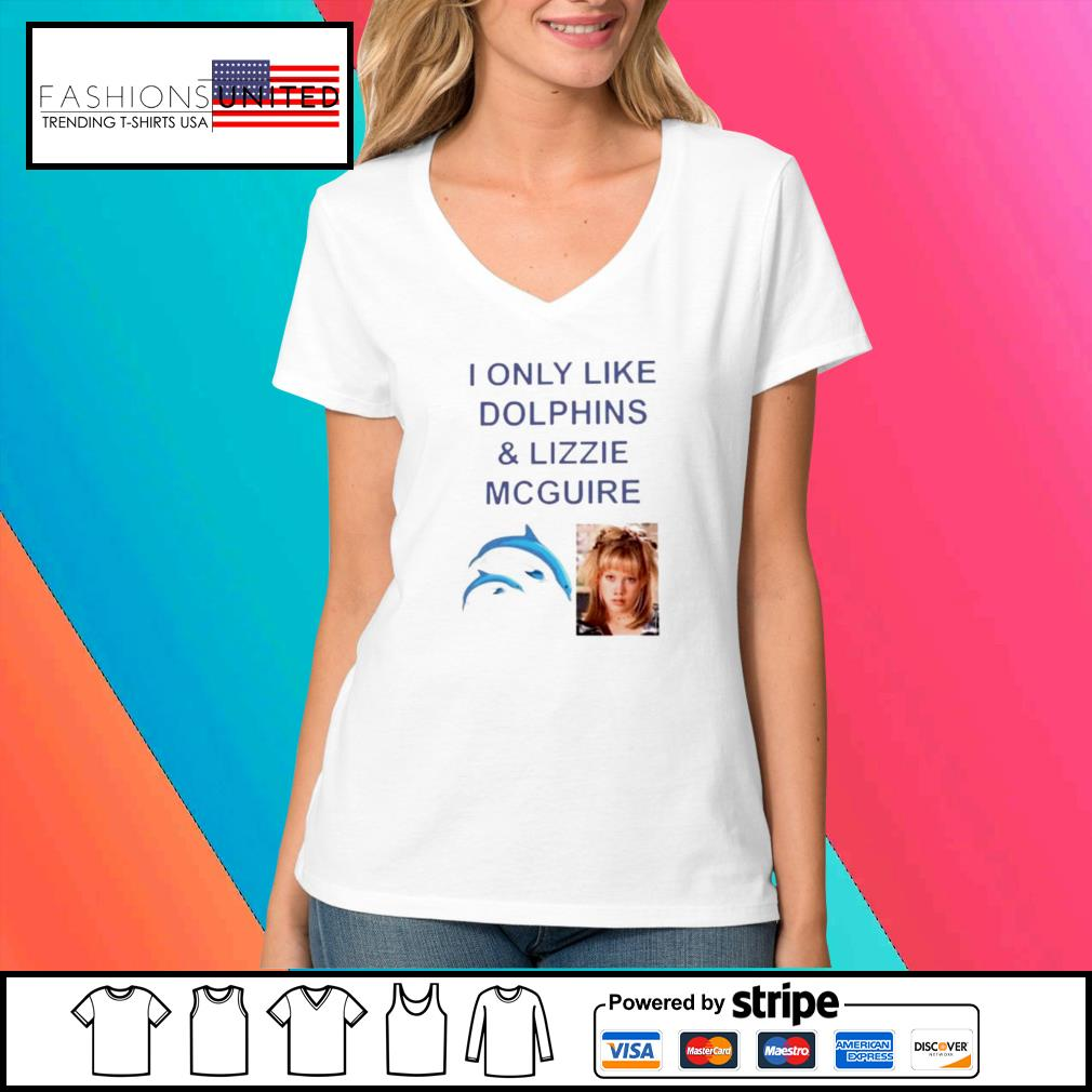 I only like dolphins and lizzie mcguire s V-neck-t-shirt
