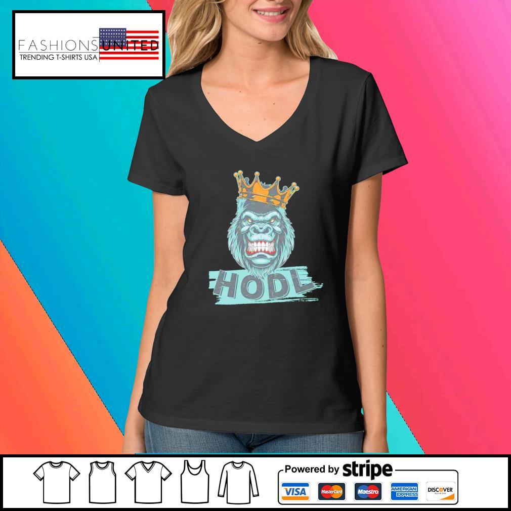 King gorilla apes hodl wall street stock s V-neck-t-shirt