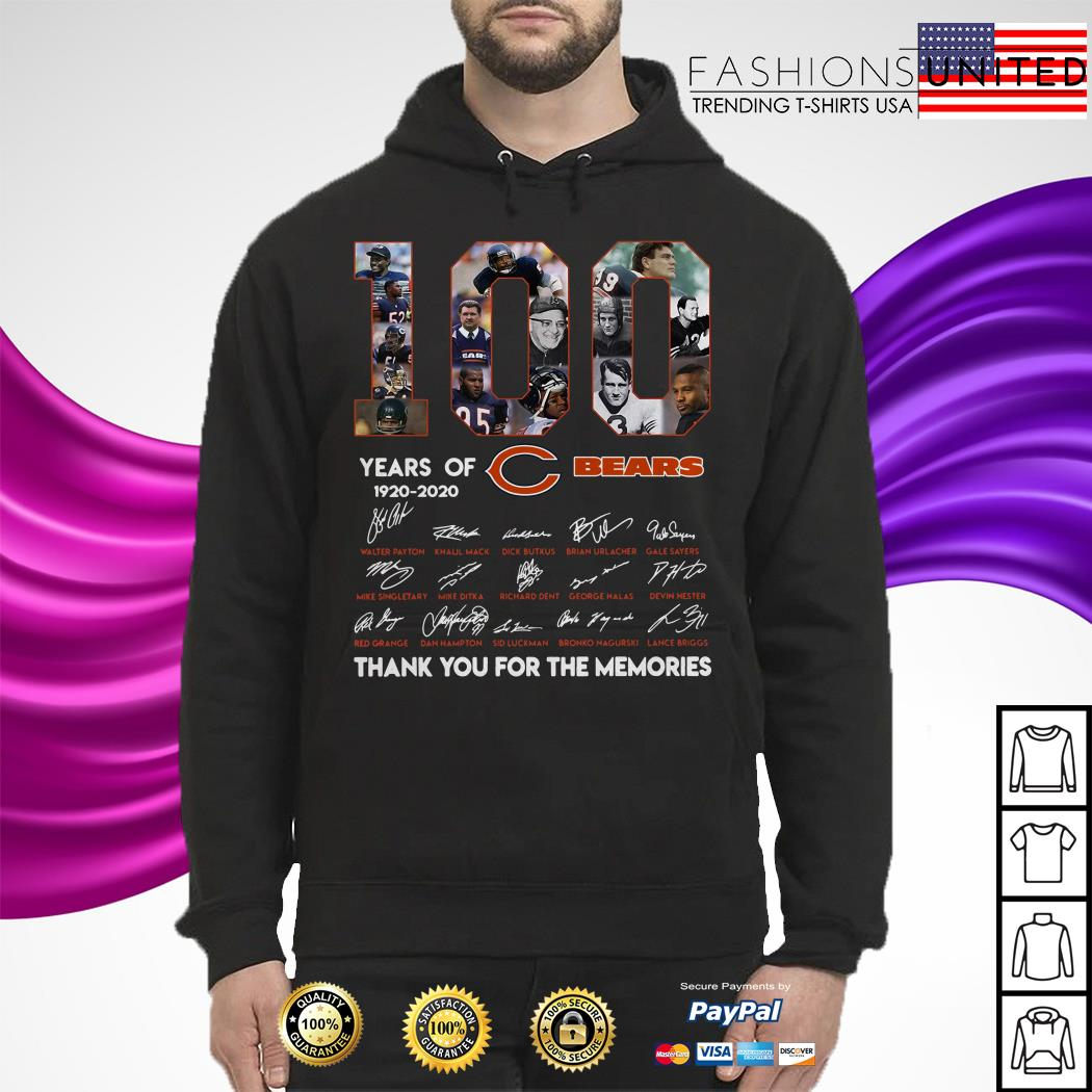 100 years of Chicago Bears 1920 2020 signature thank you for the memories Hoodie