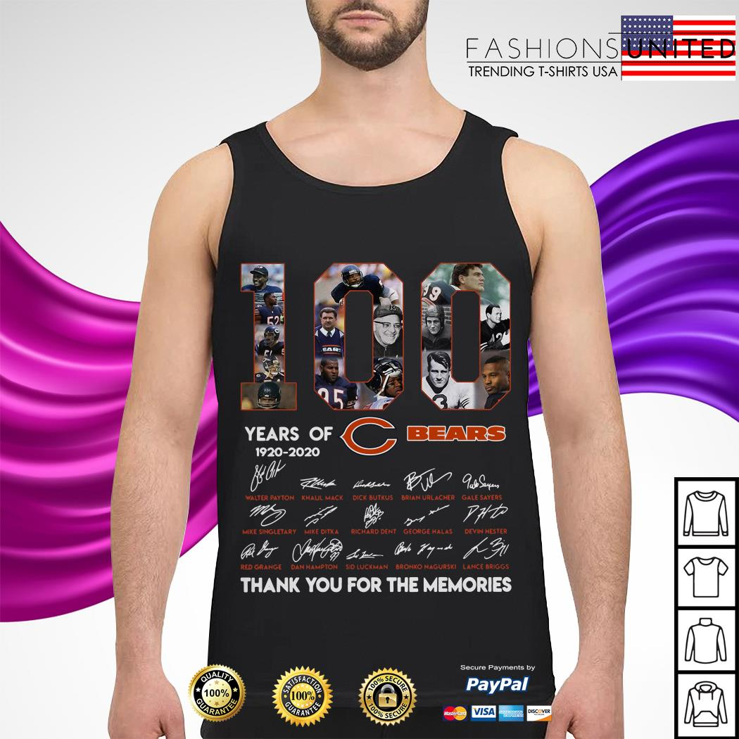 100 years of Chicago Bears 1920 2020 signature thank you for the memories Tank-top