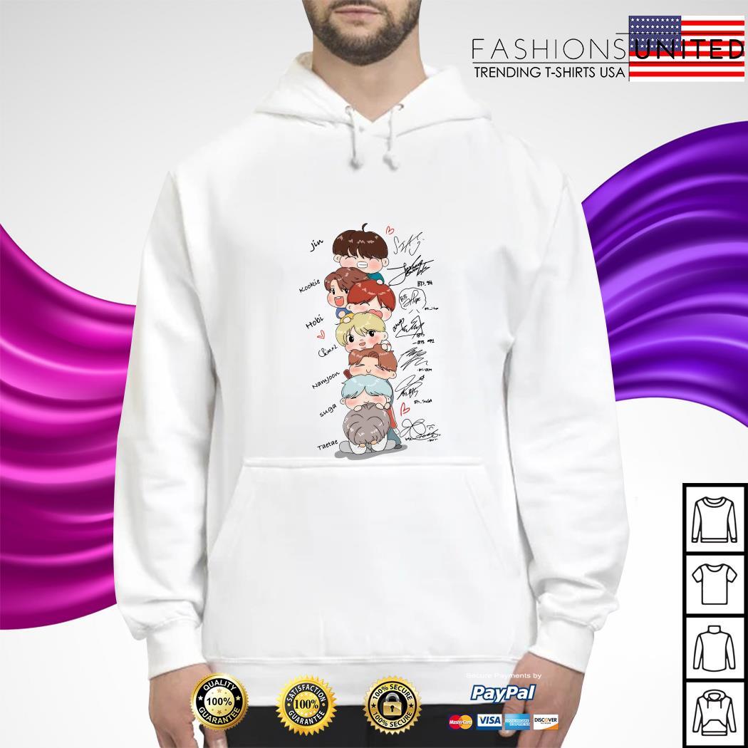 bts signature cartoon hoodie