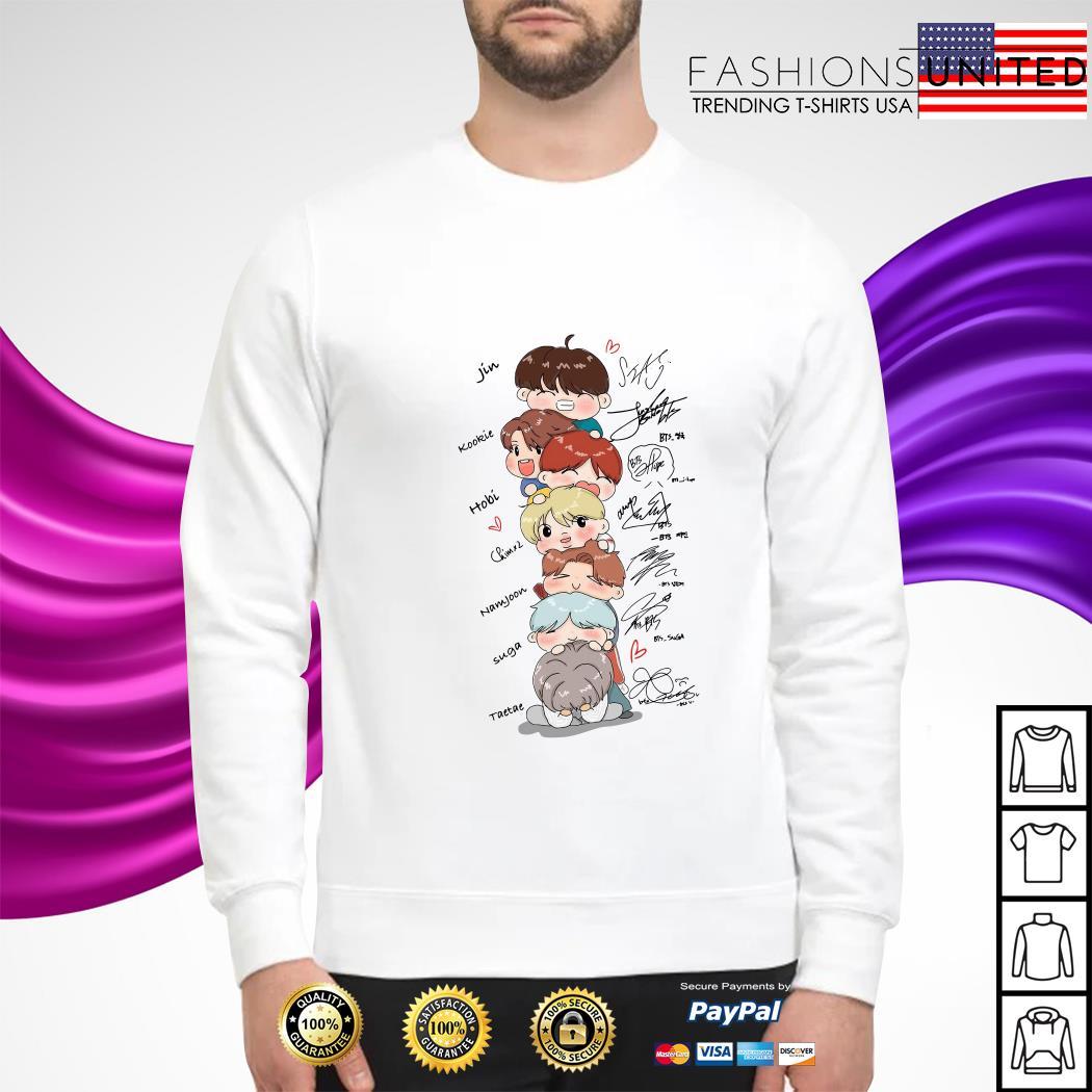 bts signature cartoon sweater