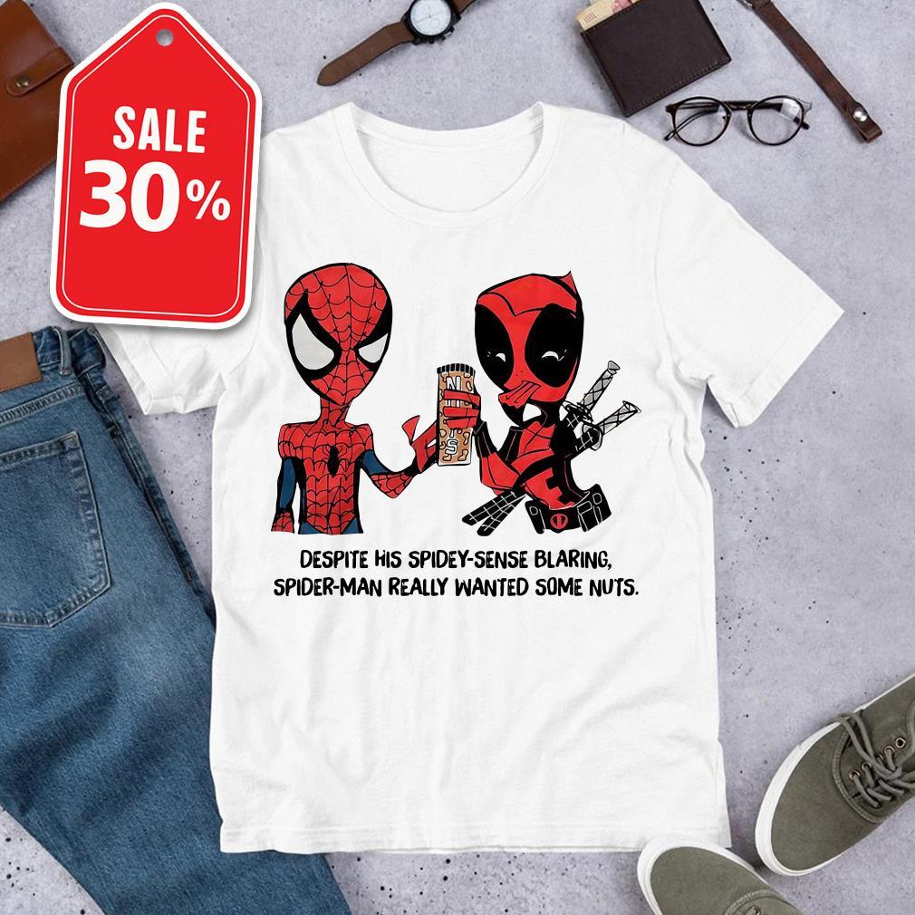 Despite his spidey-sense blaring Spider-Man really wanted some nuts shirt
