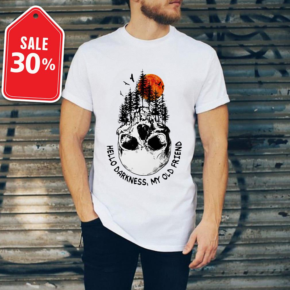Skull tree sunset hello darkness my old friend shirt