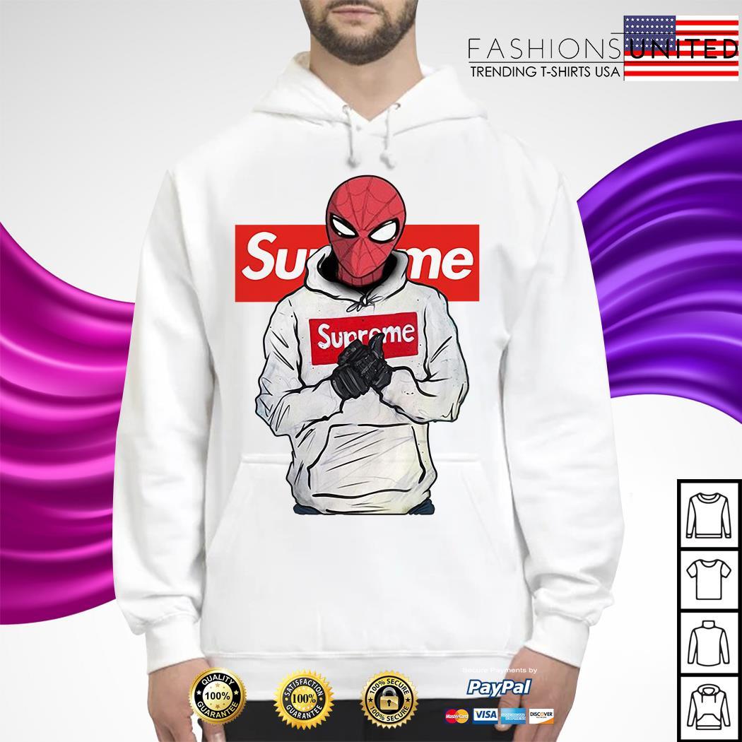 Spider-Man wearing Supreme Hoodie