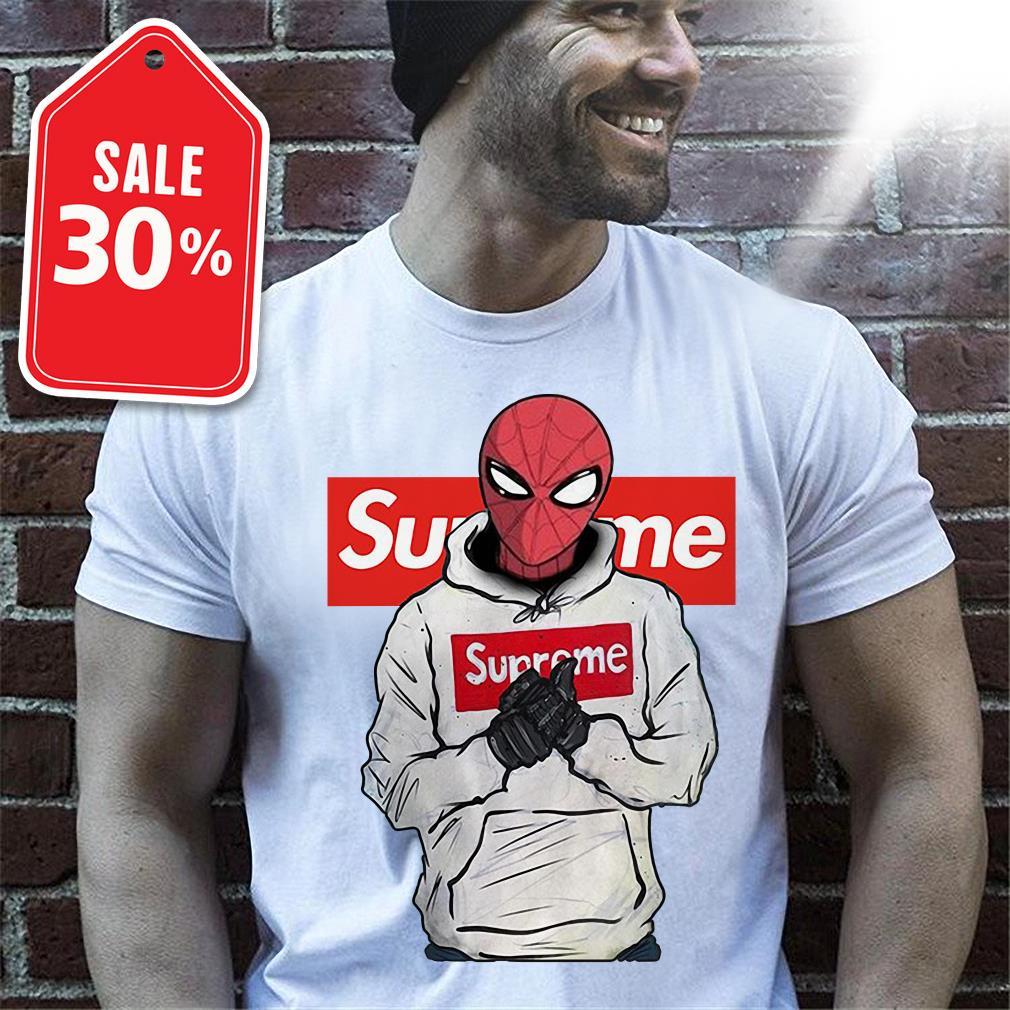 Spider-Man wearing Supreme shirt