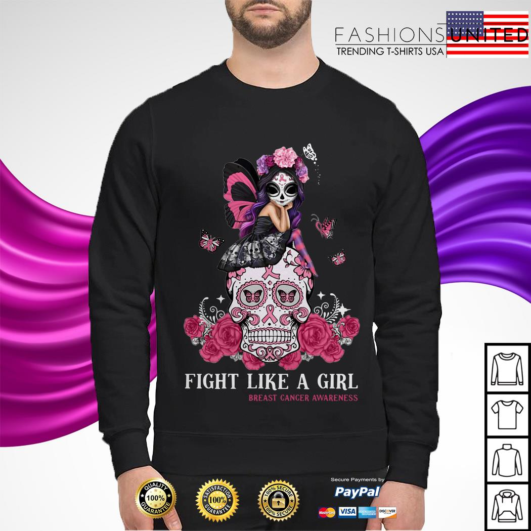 Sugar Skull fight like a girl breast cancer awareness Sweater