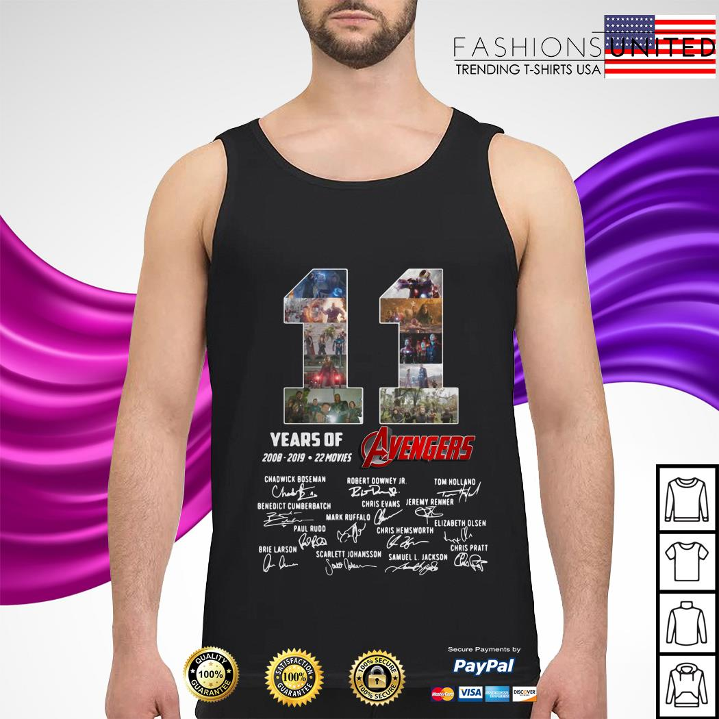 11 Years of Avengers 2008-2019 22 movies signatures tank top