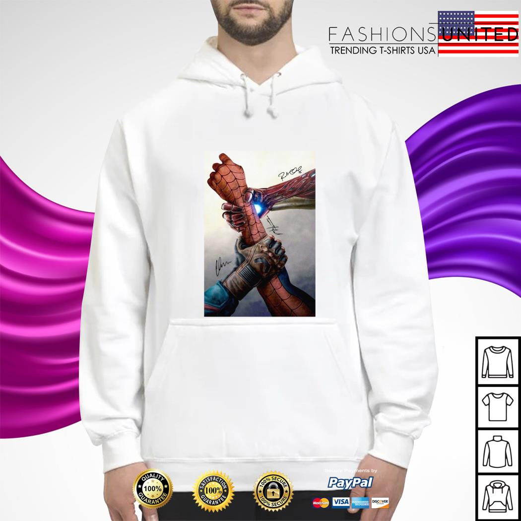 Hand Captain America and Iron Man Spider man signature hoodie