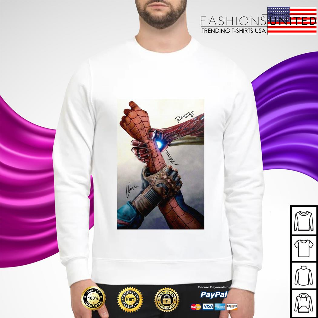 Hand Captain America and Iron Man Spider man signature sweater