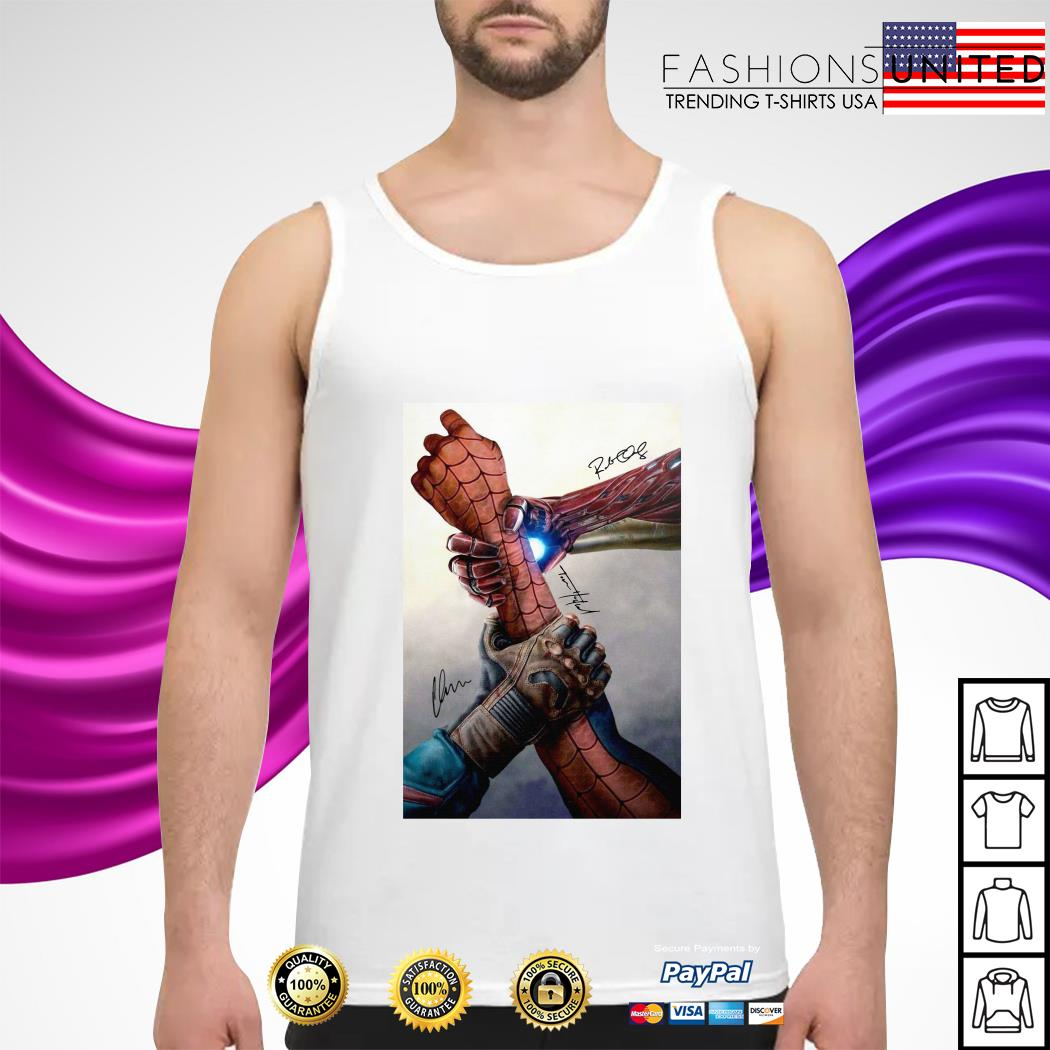 Hand Captain America and Iron Man Spider man signature tank top