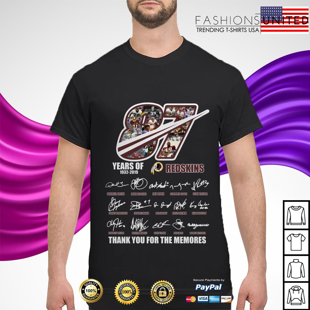 87 Years of 1932 2019 Redskins thank you for the memories shirt