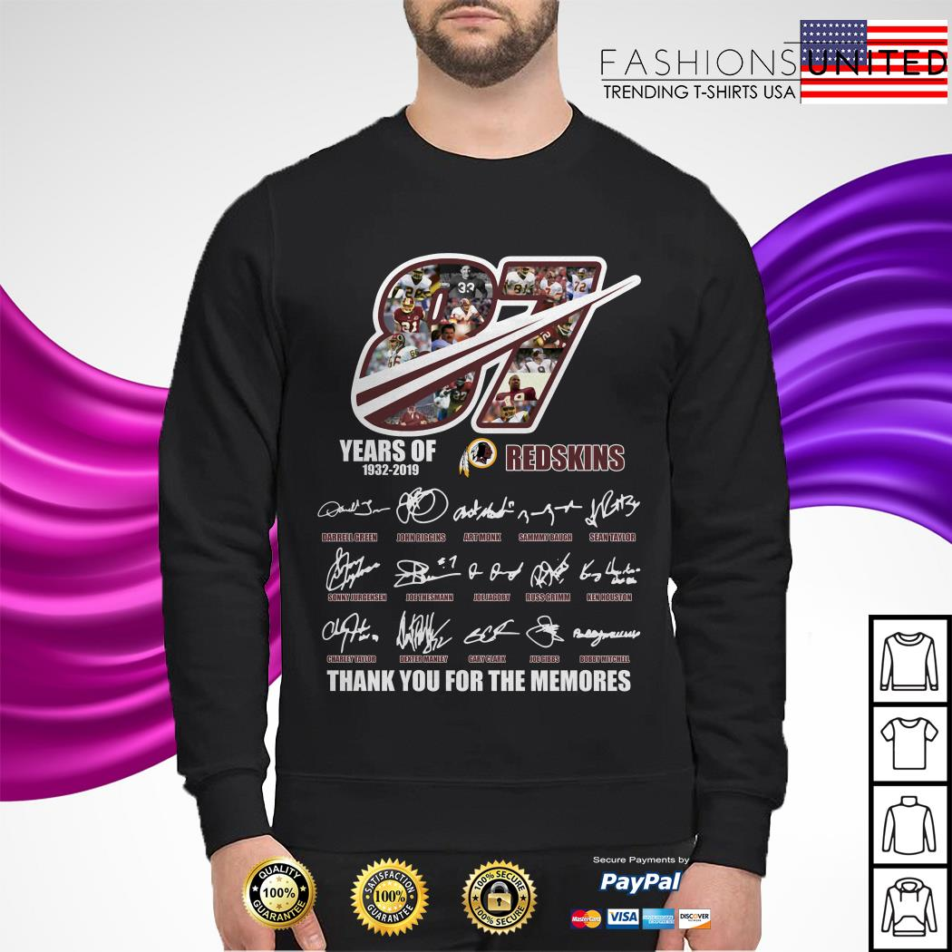 87 Years of 1932 2019 Redskins thank you for the memories sweater