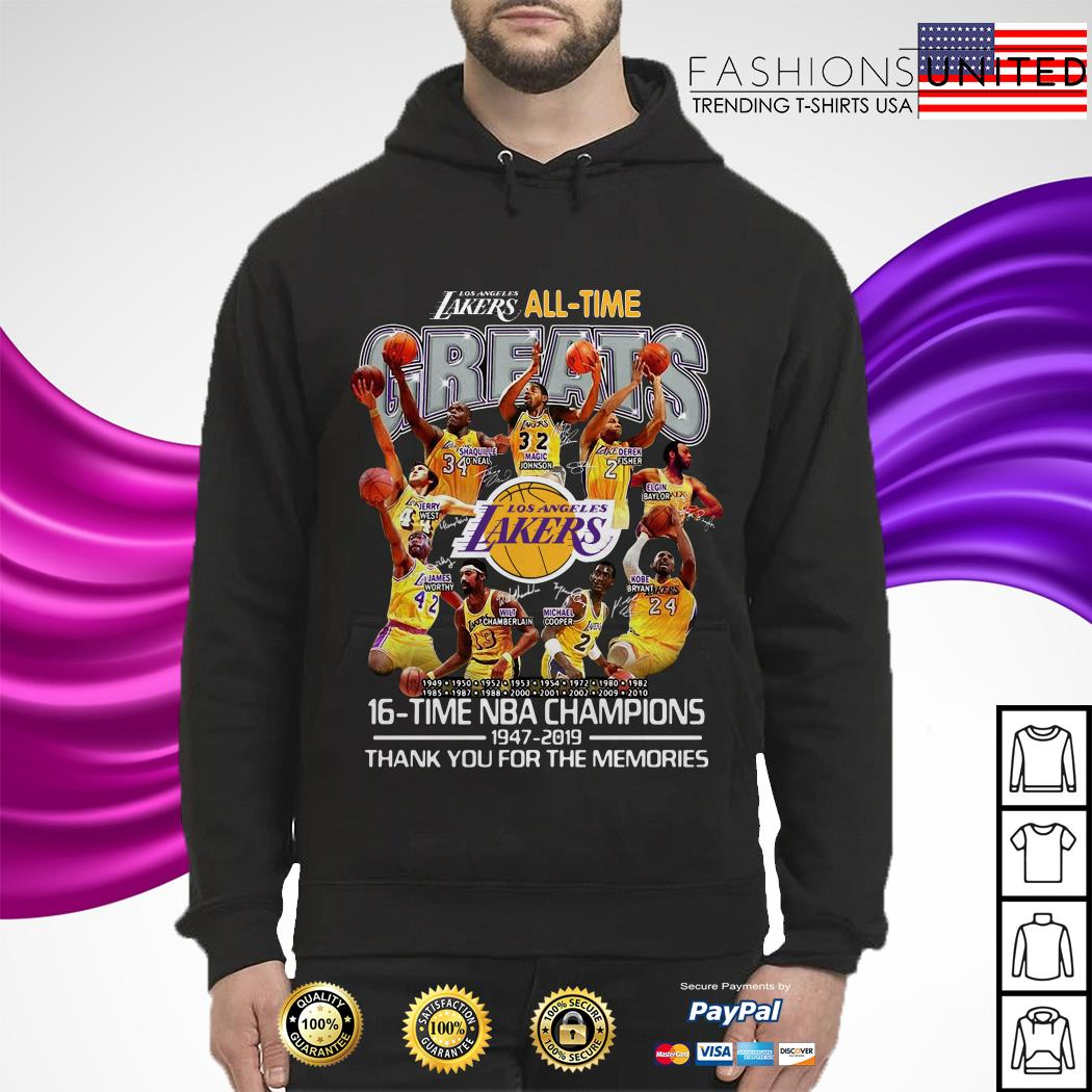 Los Angeles Lakers all time 16 time NBA champions hoodie