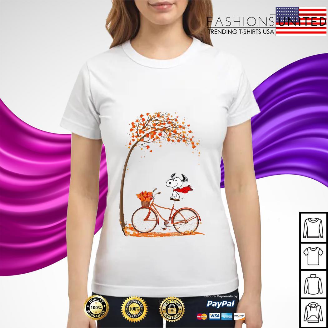 Snoopy riding bicycle autumn leaf tree ladies tee