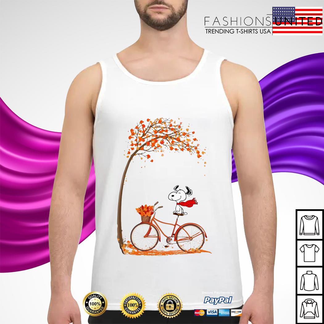 Snoopy riding bicycle autumn leaf tree tank-top