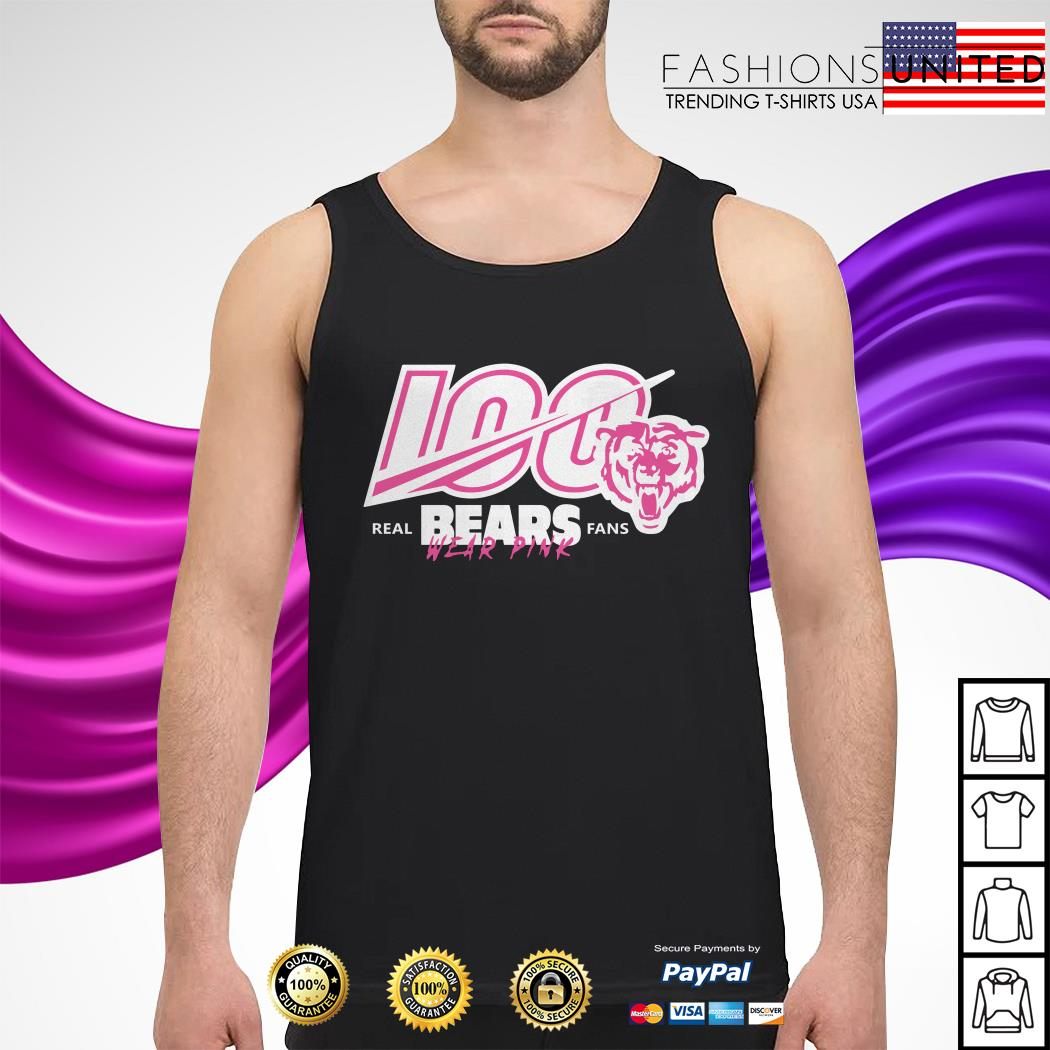 100 real Bears fans wear pink Chicago Bears tank-top