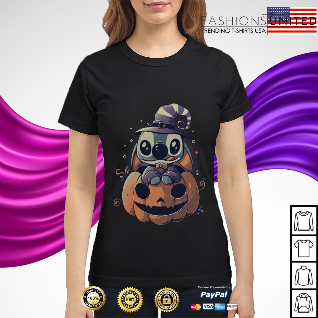 Stitch Pumpkin Halloween ladies tee