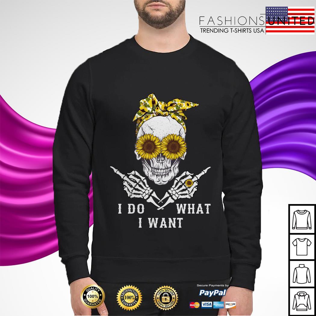 I do what I want skullcap sunflower sweater