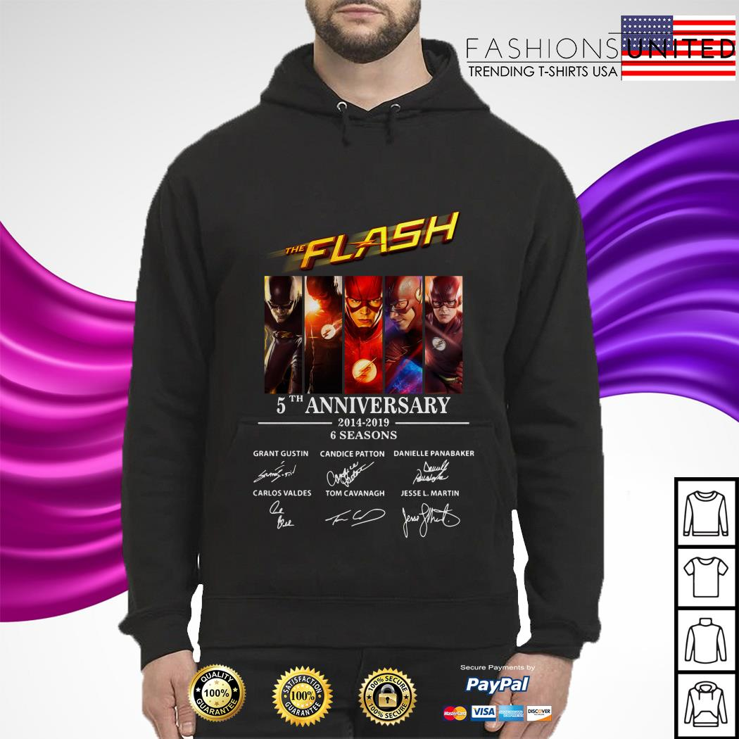 The Flash 5th anniversary 2014 2019 6 seasons signature hoodie