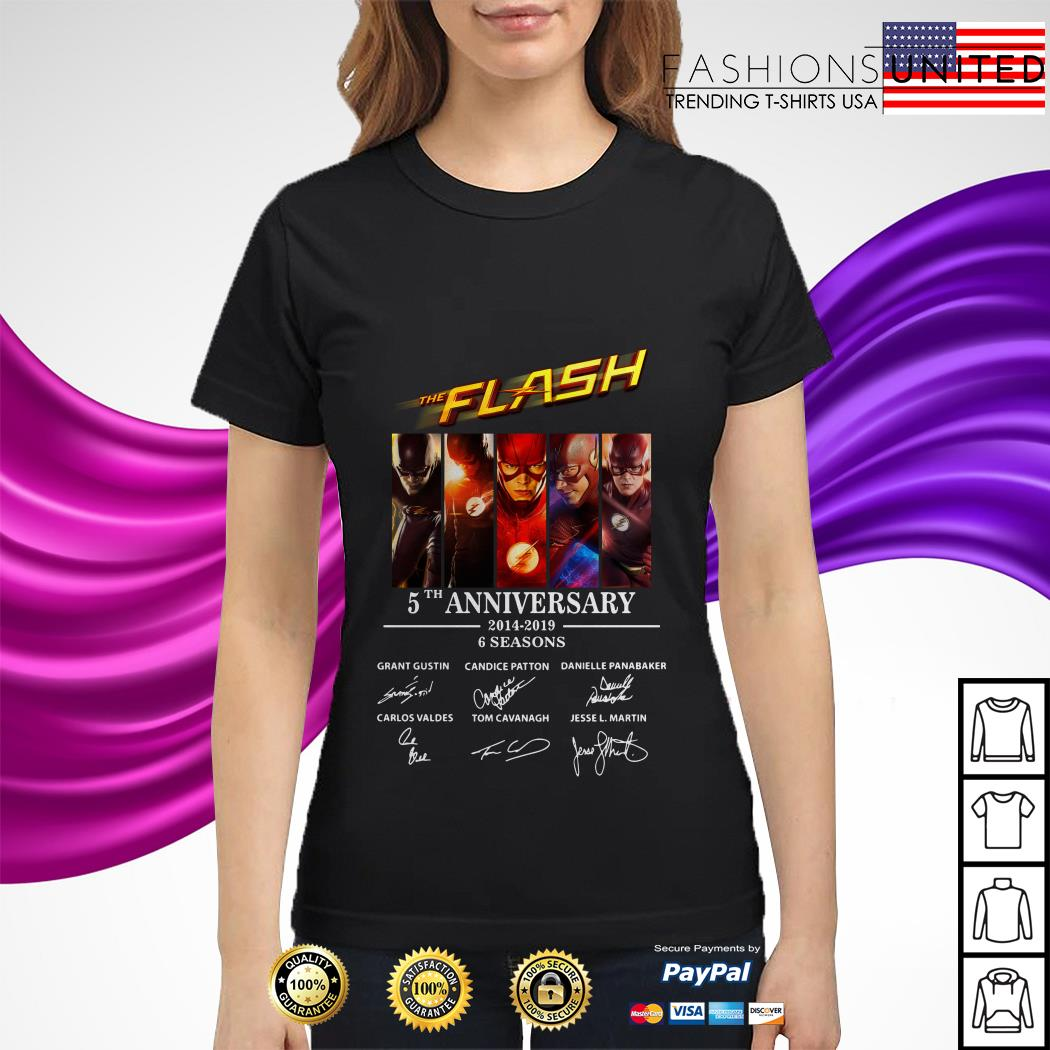 The Flash 5th anniversary 2014 2019 6 seasons signature ladies tee