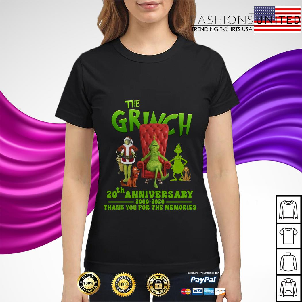 The Grinch 20th anniversary 2000 2020 thank you for the memories ladies tee
