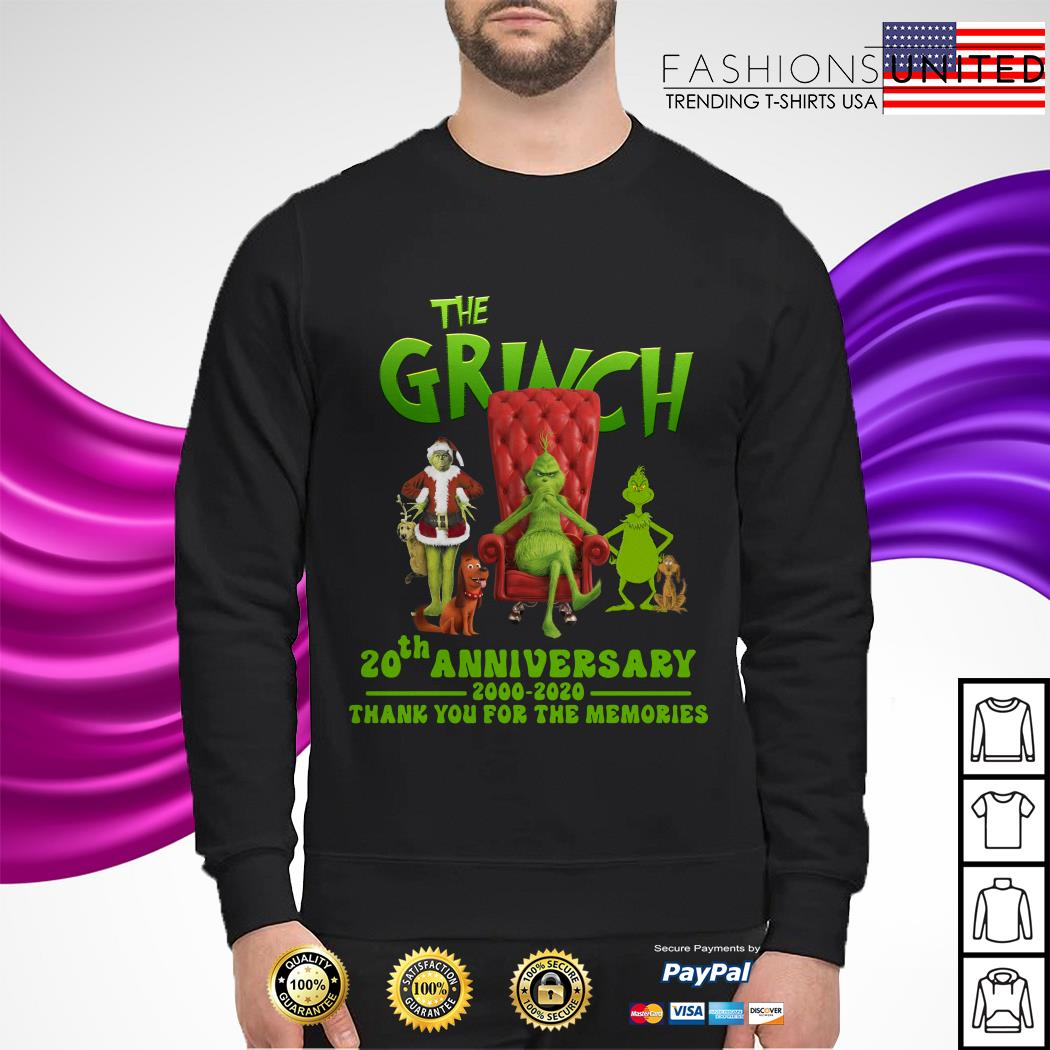 The Grinch 20th anniversary 2000 2020 thank you for the memories sweater