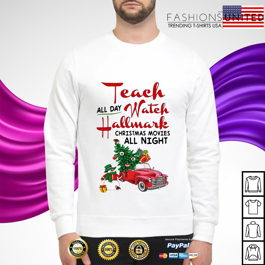 All day watch Hallmark Christmas movies all night sweater
