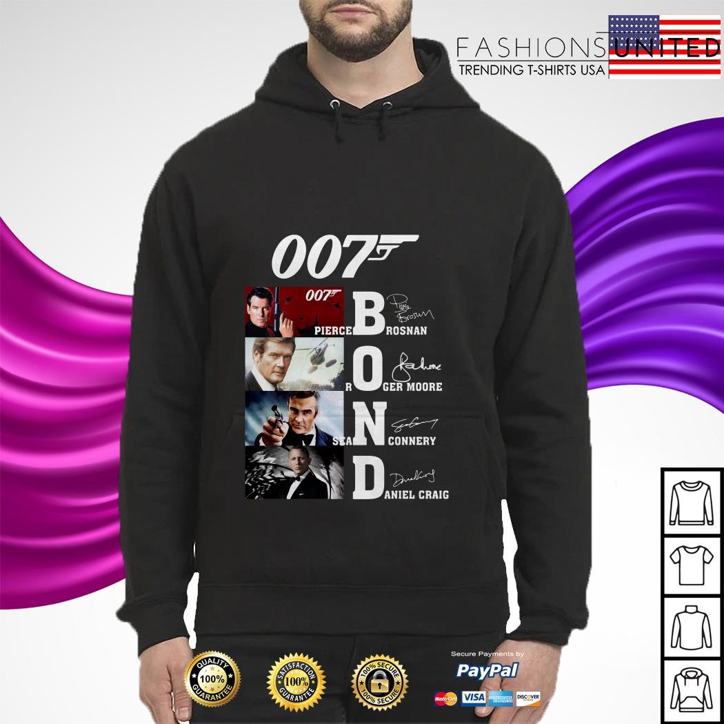 007 Pirece Brosnan Roger Moore Sean Connery Daniel Craig signature hoodie
