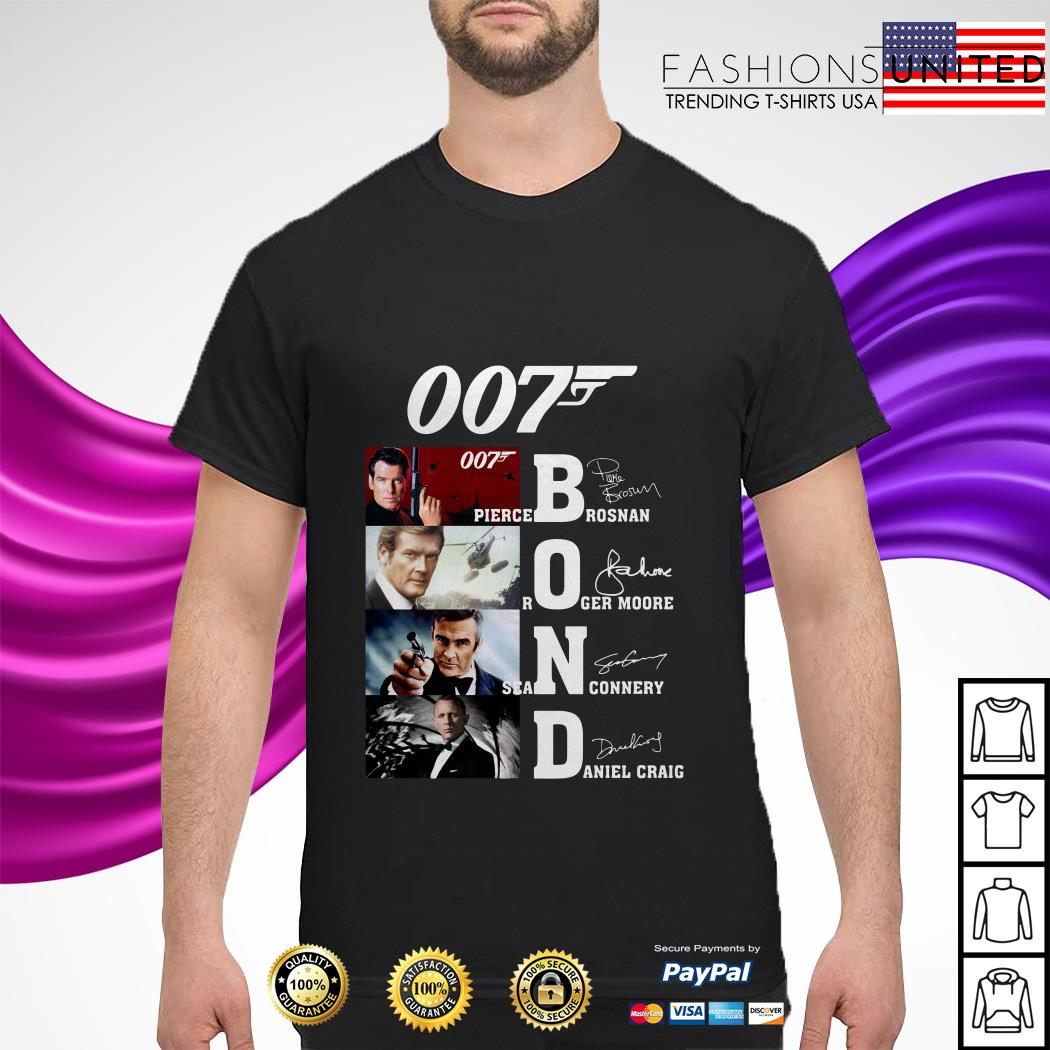 007 Pirece Brosnan Roger Moore Sean Connery Daniel Craig signature shirt