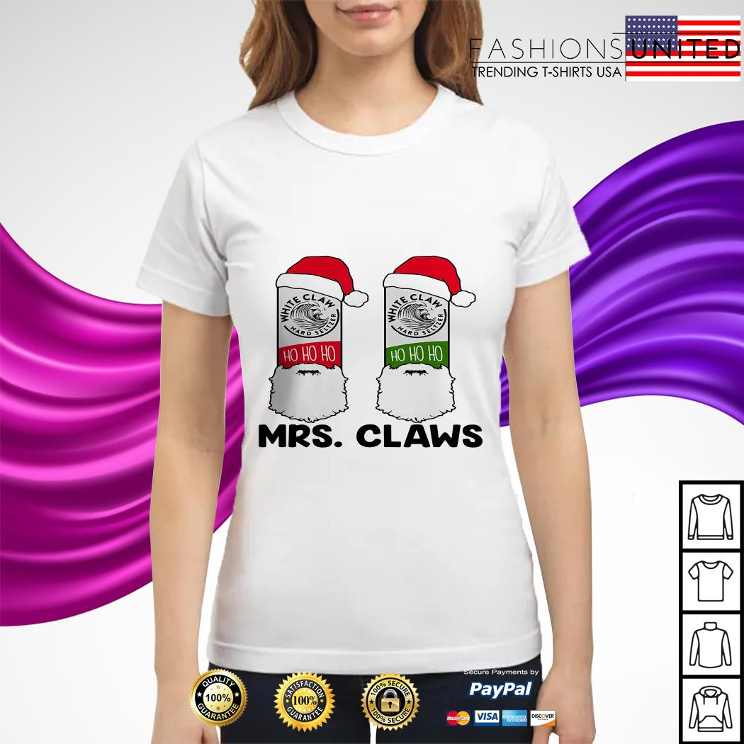 Mrs Claws white claw hard seltzer ho ho ho Christmas ladies tee