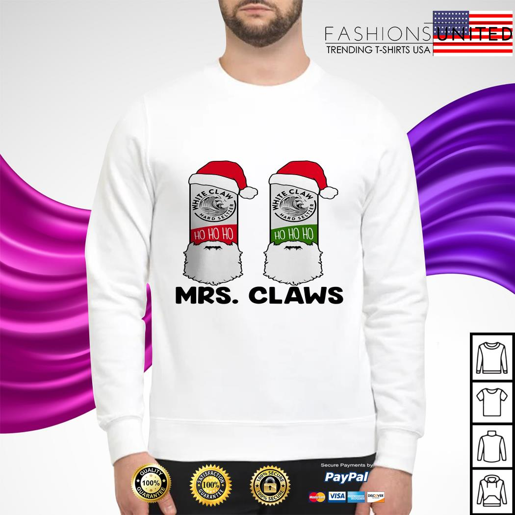 Mrs Claws white claw hard seltzer ho ho ho Christmas sweater