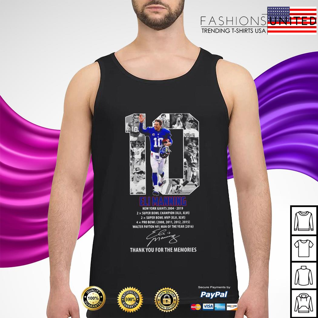 10 Eli Manning thank you for the memories signature tank-top