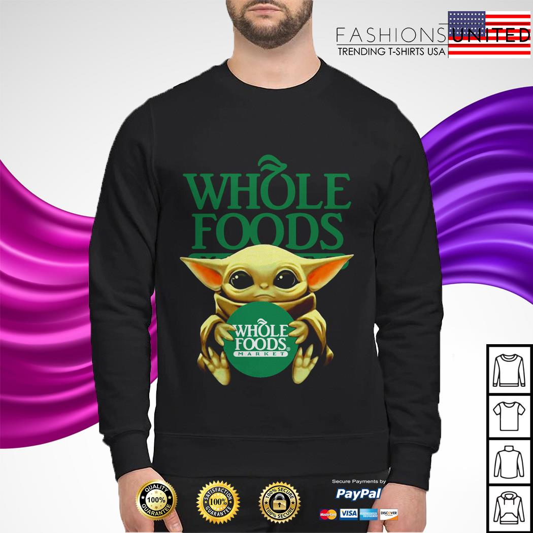 Baby Yoda hug Whole Foods Market sweater