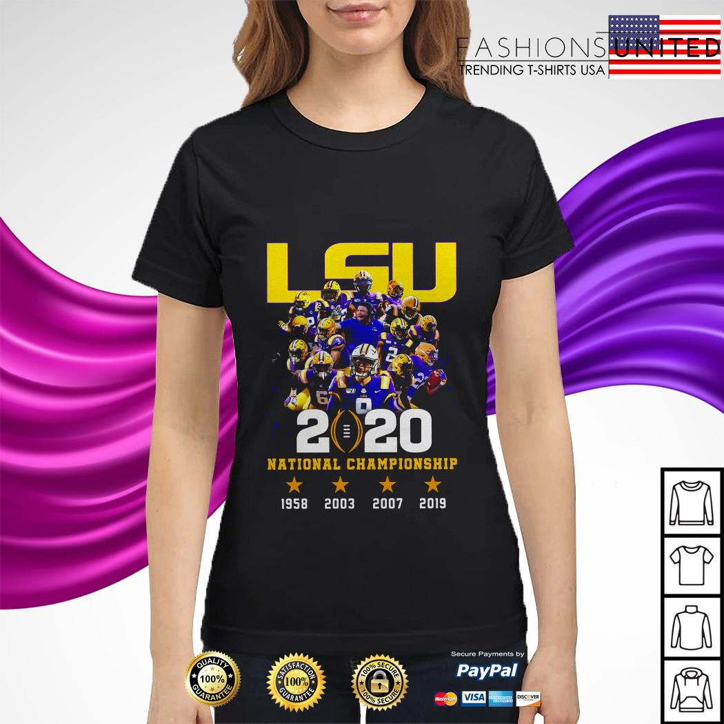 LSU tigers 2020 national championship 1958 2003 2007 2019 ladies tee