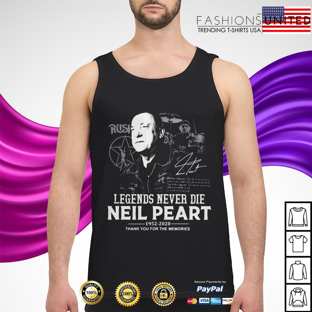 Rush legends never die Neil Peart 1952 2020 thank you for the memories tank-top