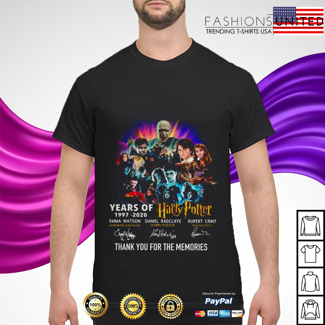 Years of 1997 2020 Harry Potter character thank you for the memories shirt