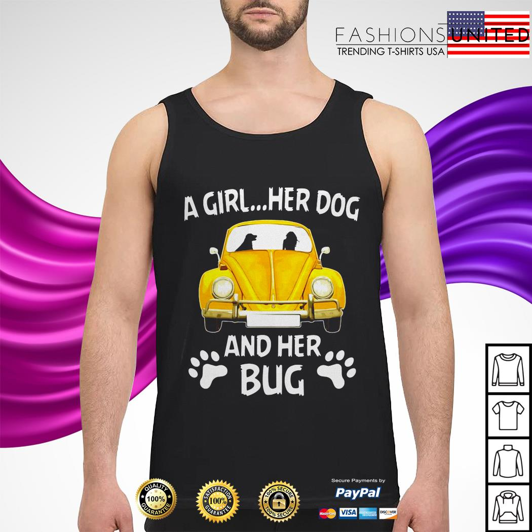 A girl her dog and her bug tank-top