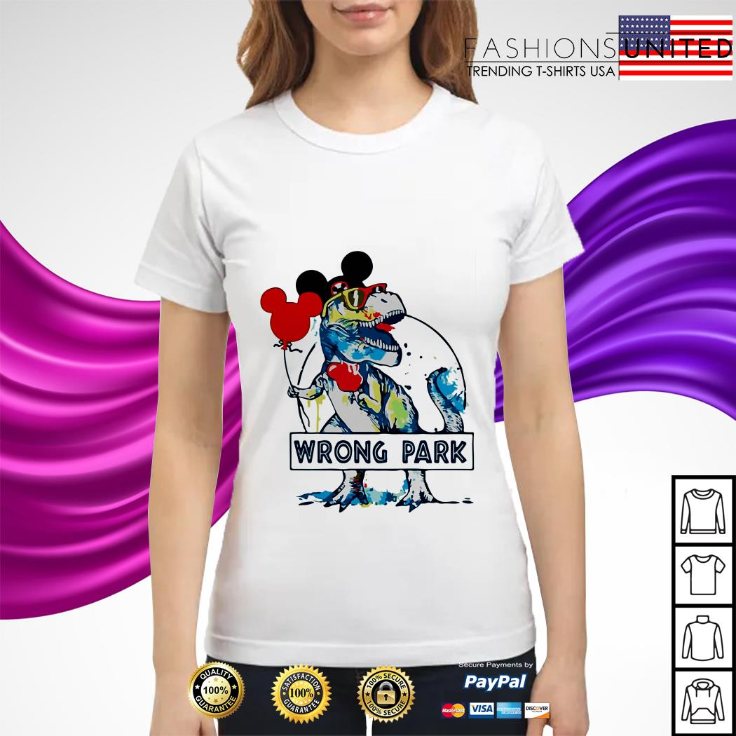 Dinosaur T-rex mashup Mickey mouse wrong park ladies tee