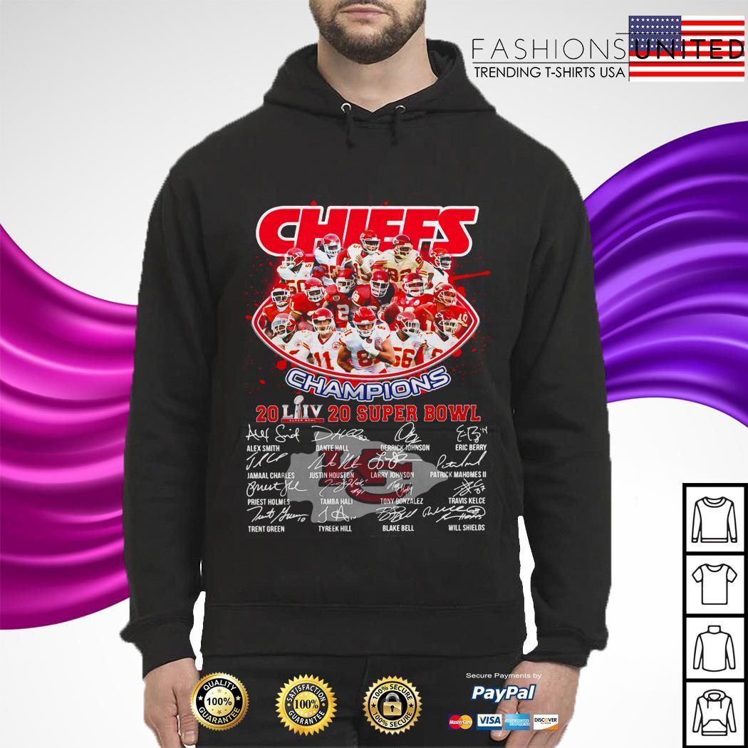 Kansas City Chiefs Champions 2020 super bowl signatures hoodie