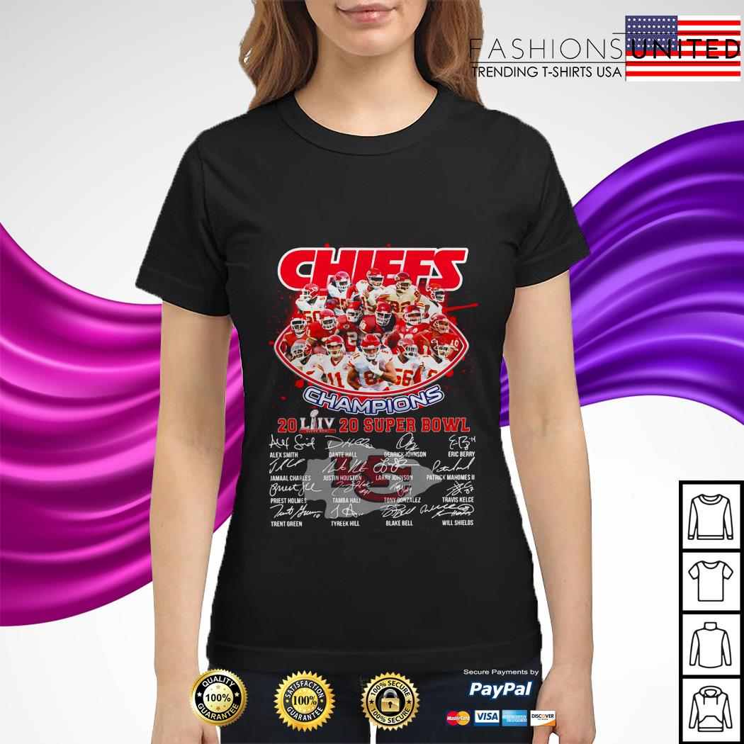 Kansas City Chiefs Champions 2020 super bowl signatures ladies tee