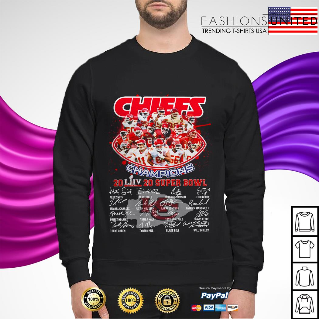 Kansas City Chiefs Champions 2020 super bowl signatures sweater